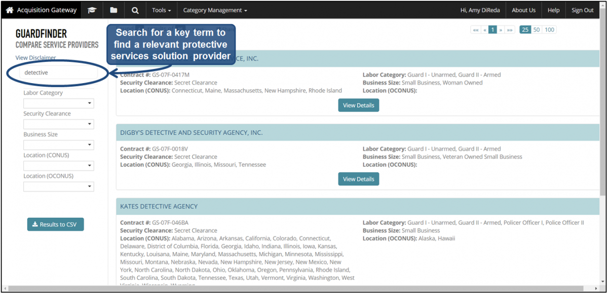 Guard Finder | Acquisition Gateway